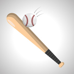 color baseball with bat and ball icon
