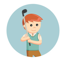 golfer man prepare to hitting ball in circle background