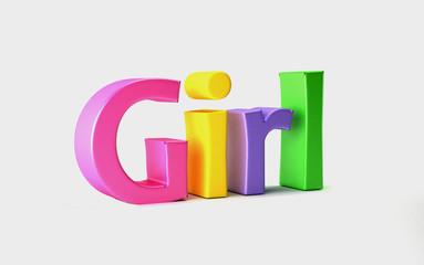 Girl Colored Word. 3D Render Illustration