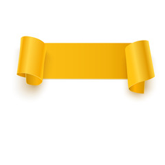 Curved, orange banner isolated on white background. illustration.