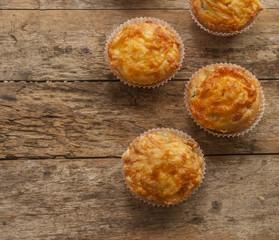 savory muffin close up ham and chesee