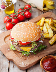 Burger, hamburger with french fries Cutting board.