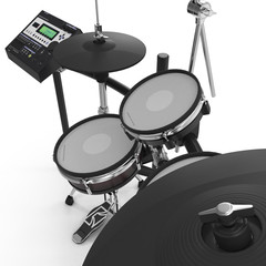 Electronic Drum Kit on white. 3D illustration