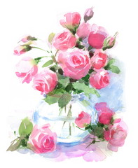 Watercolor Roses Flowers in a vase Floral Hand Painted Illustration isolated on white Background