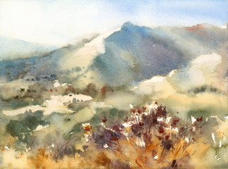 Watercolor Nevada Landscape Mountains Nature Outdoors Hand Painted Illustration