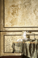 decorative wallpaper and retro wall gold colour room concept