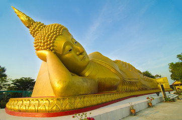 Big sleeping Buddha, Temple in Thailand