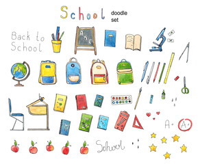 Watercolor Hand drawn School doodle set illustration in bright colors with lettering, School supplies, exercise book, microscope, globe , backpack, desk, Textbooks, apple isolated on white