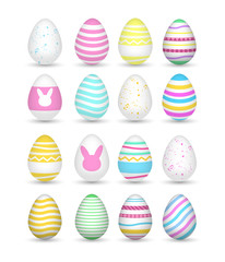 Set 16 of bright and colorful realistic easter eggs.