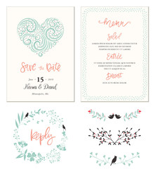 Typographic Wedding cards with swirl heart shape, birds, dots frame, floral wreath and decorative branches.