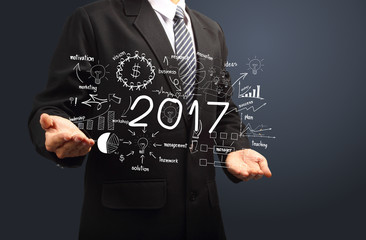 2017 new year business success in hands, Inspiration creative thinking drawing charts and graphs analysis and planning, consulting, team work, project management, brainstorming, research development