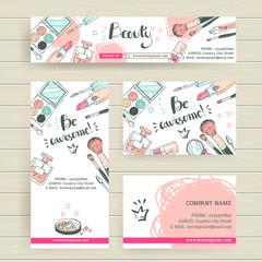 Vector ready design template for makeup artist, makeup studio or