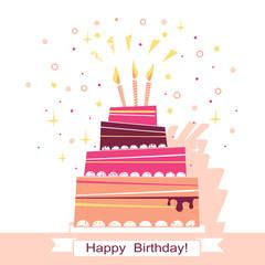 Birthday sweet cake vector card