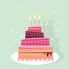 Birthday sweet cake vector illustration card