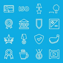 Set of 16 badge outline icons
