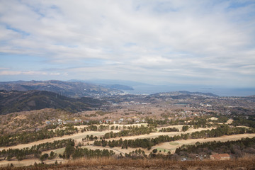 Top view from peak of Omuro mount in winter, Mount Omuro is an extinct volcano in the Izu Peninsula, near Ito City Japan.