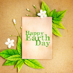 Happy Earth Day paper sheet with fresh spring  green leafs border frame  , eco natural banner concept