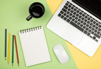 Creative design mockup set of workspace desk with notebook