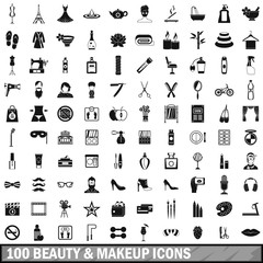 100 beauty and makeup icons set in simple style