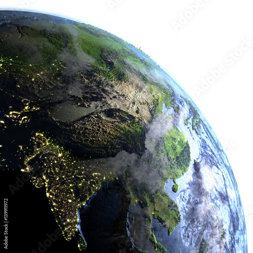 Southeast Asia On Earth Visible Ocean Floor Stock Photo And