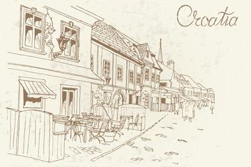 vector sketch of Tkalciceva street in Zagreb, Croatia. Retro style.