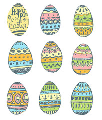 Collection of hand drawn vector easter ornamental rich decorated
