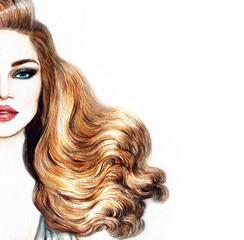 Photo sur Toile Portrait Aquarelle Woman face. Fashion illustration. Watercolor painting