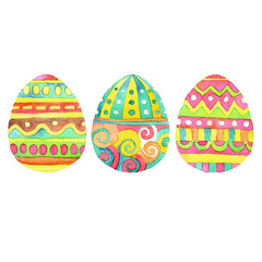 Set of  hand drawn watercolor Easter eggs
