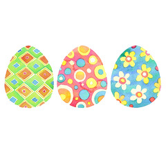 Set of bright hand drawn watercolor Easter eggs