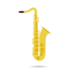 Isolated flat icon of saxophone
