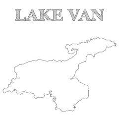 Isolated contours of the map of Lake Van, located in eastern Turkey - Eps10 vector graphics and illustration