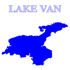 Isolated blue map of Lake Van, located in eastern Turkey - Eps10 vector graphics and illustration