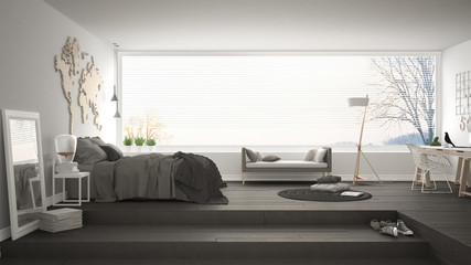 Scandinavian minimalist bedroom with office, minimalistic modern interior design