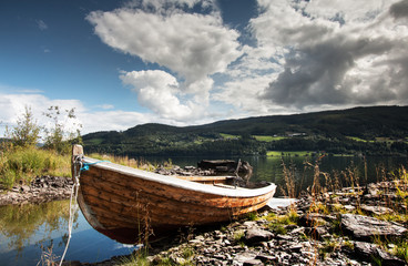 Small fishing boat in Norwegian fjord