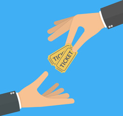 Hand giving or handing over tickets to another hand. Flat design