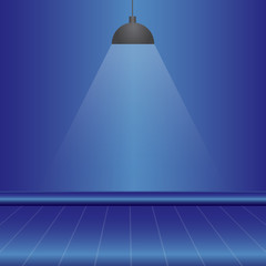 blue empty studio room background with light, template mock up for display of content or product, vector illustration