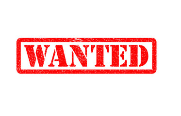 Wanted text rubber seal stamp watermark. Caption inside rectangular banner with grunge design and unclean textur