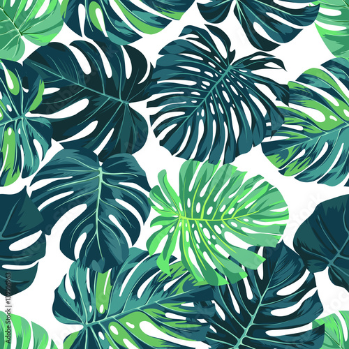 Quot Vector Seamless Pattern With Green Monstera Palm Leaves