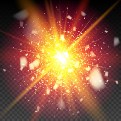 Golden firework glitter particles on the background. Stardust spark the explosion on a black background. vector illustration 3D, of realistic vector, EPS 10
