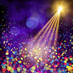 Special light effects. Realistic vector bright projectors for scene lighting isolated on plaid backdrop. Colorful stage lights background. Background show carnival. Studio backdrop with confetti