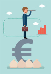 Concept flat vector business illustration. Stock exchange. Stock broker. Businessman standing on Euro sign and looking through a telescope.