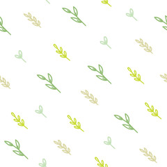 Cute green branches background. Vector hand drawn seamless pattern