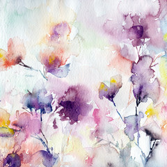 Floral background. Watercolor spring  flowers.