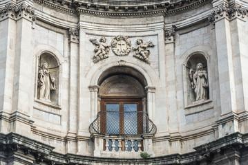 Close up on facade of Saint Placidus Church in Catania, Sicily, Italy