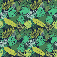 Seamless pattern with tropical leaves. Vector illustration painted with watercolor grunge brushes.