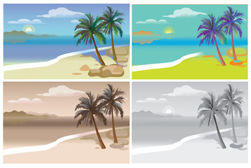 Flat vector set tropical island with sea and palm trees. A set of monochrome and colored species with palm trees and sea