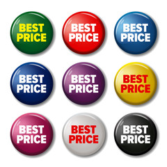 Set of colored round buttons with word 'Best price'. Circle labels for products in online shops. Discount tags looks like pin magnets. Design elements on white background with transparent shadow.