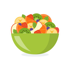 Fresh fruit salad in a green bowl isolated on white background. Healthy eating concept. Vector illustration in flat design.