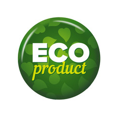 Bright green round button with words 'Eco Product'. Isolated on white background. Circle label for organic food shop. Ecological tag