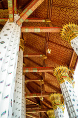 traditional golden details at buddhist temple, thailand